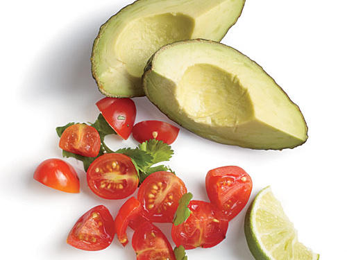 Bright, fresh tomato salad and creamy, heart-healthy avocado tastefully top our chimichanga, replacing cheese and sour cream to save 106 calories and 7.5g sat fat per serving.