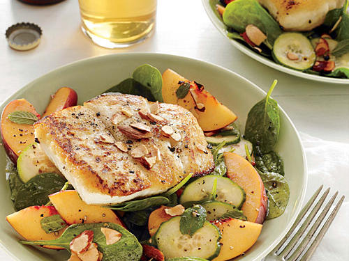 Halibut shines in this summer salad, while almonds add a satisfying crunch.