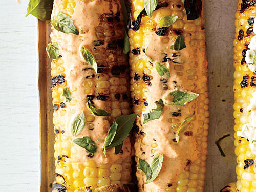 Grilled Corn with Smoky Red Pepper Mayo and Basil