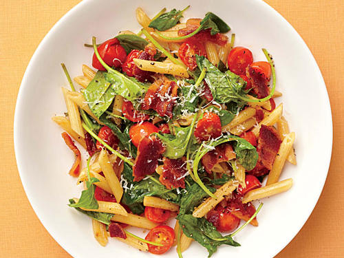 "We love the look of mezze penne, a smaller version of regular penne, but you can use any short pasta you like. The ""lettuce"" in this BLT is actually tender baby spinach. You could also substitute peppery arugula or even baby kale.