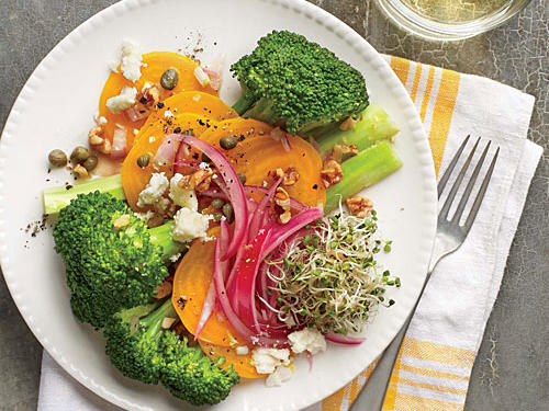 Broccoli, Beet, and Pickled Onion Salad