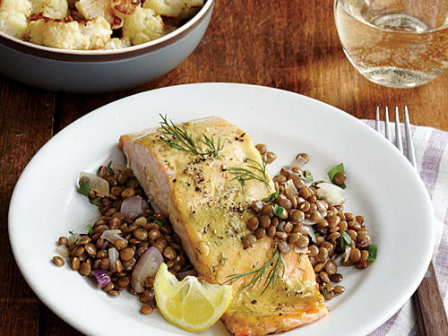 Mustard-Glazed Salmon with Roasted Cauliflower