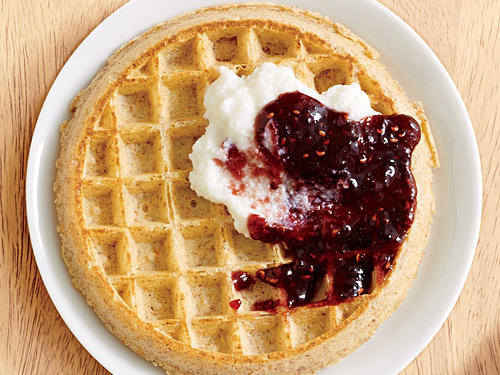 Naturally sweet raspberry preserves combined with part-skim ricotta cheese is dolloped on top of a whole-wheat waffle to satisfy you and keep you full all morning. Serve with a side of fruit for a complete breakfast.