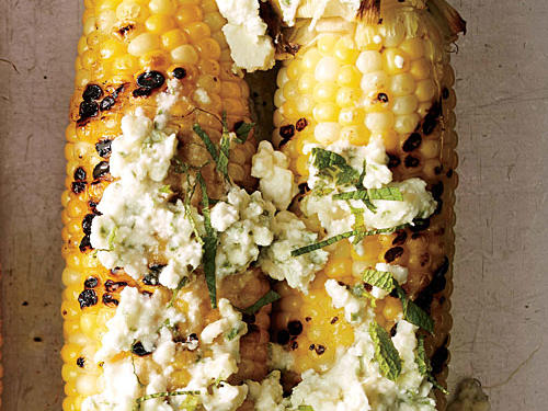 Grilled Corn with Feta and Mint Butter