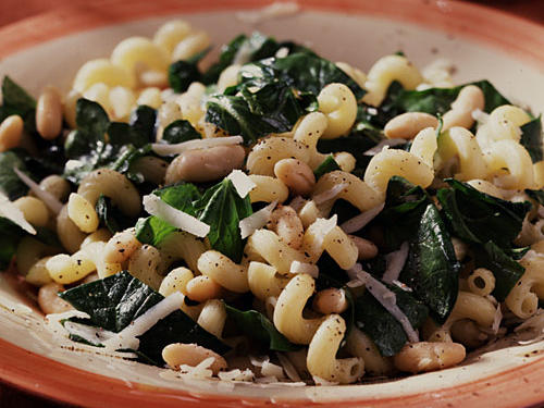 Best Pasta: Cavatappi with Spinach, Beans, and Asiago Cheese