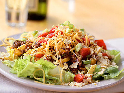 For an easy and quick, go-to meal, try taco salad made with ground chicken or turkey. Top with lots of vegetables and enjoy!
