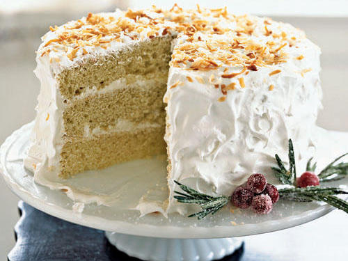This coconut cake recipe is one of our readers all-time favorites. The frosting also pairs wonderfully with other cake flavors like carrot, spice and basic white. Garnish the cake plate with sugar-frosted cranberries and rosemary sprigs.
