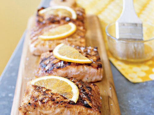 Grilled salmon on a cedar plank