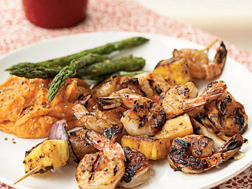 Shrimp's small size and quick cooking time are a perfect compliment                                   to the high heat and big flavor of grilling. The following recipes                                   showcase the incredible diversity of flavors that can result when                                   crustacean meets fire. They're reason enough to bring back an '80s                                   catchphrase and throw another shrimp on the barbie tonight.