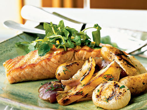 Grilled Wild Salmon and Vegetables