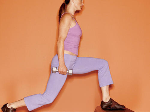 Minute 6: Lunge Step-Ups (toning, pictured)Hold a five- to eight-pound dumbbell in each hand, and place left foot on a step or low bench. Take a big step back with right leg (at least three feet behind you) as you bend left knee to a 90-degree angle, as shown. Straighten left leg as you bring right leg forward, and touch step with right foot. Repeat. After 30 seconds, switch legs. Minute 7: High Knee Lifts (cardio)Jog in place, bringing each knee up until thigh is parallel with the floor.