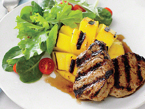 Grilled Pork with Mango and Rum Sauce