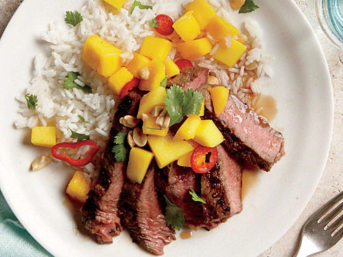 Grilled Sirloin Steak with Mango and Chile Salad
