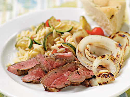 Lamb Steaks with Herbs de Provence and Grilled Sweet Onions