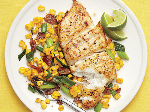 Halibut with Bacony Corn Sauté