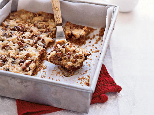 These bar cookies are also known as seven-layer bars. They take less than 30 minutes to make and call for just 8 ingredients, making them the perfect dessert for any bake sale.