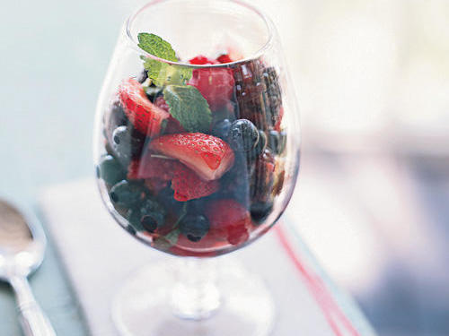 Summer Berry Medley with Limoncello and Mint