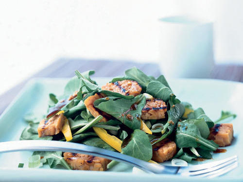 Green Salad with Grilled Tempeh and Maple-Soy Vinaigrette