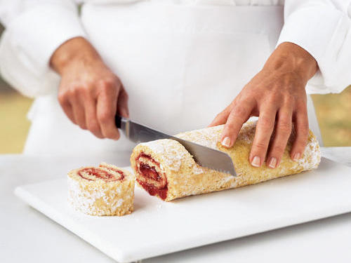 "You'll need: A jelly-roll pan, which is a shallow rectangular pan with one-inch-deep sides, and a kitchen towel.Step One: First, spray the pan with cooking spray, line with a sheet of wax paper, then coat the wax paper with cooking spray. ""Spraying both the pan and wax paper will prevent the cake from sticking,"" Conrad says. Next, pour the batter, and bake."