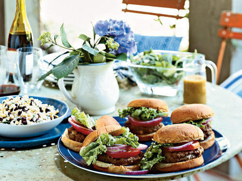 "Though burgers are the epitome of casual grilling, these blue-cheese-filled patties add a touch of elegance. Reviewer liscali said, ""These might just be the best burgers we've ever eaten. Although we followed the burger recipe faithfully, we like our burgers on English muffins instead of buns with whole grain Dijon mustard. These burgers are as moist and flavorful as they can be. Can't wait to serve them to company."""