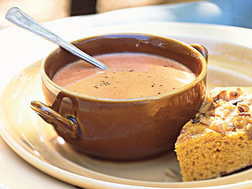 Try baking the onion, garlic, and tomatoes in this not-so-traditional tomato-balsamic soup at 500° in order to caramelize their natural sugars and deepen the flavor of the overall dish.