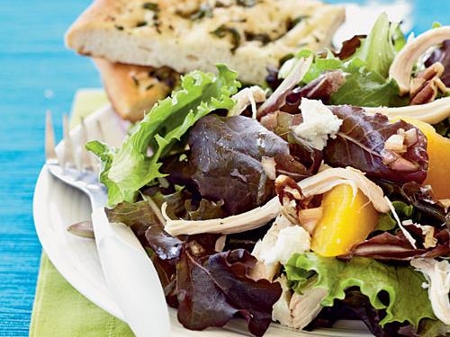Fresh peaches and goat cheese headline this simple no-cook salad recipe. The 8-ingredient vinaigrette, made with pantry staples, takes just minutes to make and is a delicious complement to the other salad ingredients.
