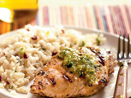 Bring the heat of the southwest to the dinner table with a delicious take on the weeknight meal of grilled chicken. Serve with chipotle rice.