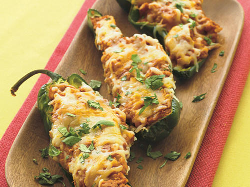 Refried Bean Poblanos with Cheese
