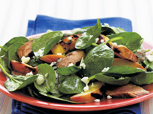 Most stone fruits pair well with pork, so if you have peaches, plums, or apricots on hand, use them instead of the nectarines. The sweet-and-sour flavor of balsamic vinaigrette matches the fruit well, while the salty bits of feta provide contrast.