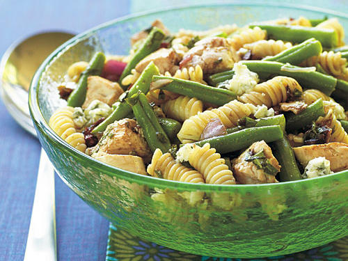 Leftover chicken, pasta, or any cooked green vegetable can go into this salad, making it a great fridge-clearer. Pungent blue cheese breathes new life into the rest of the ingredients. But even if you start from scratch, it's superfast and supereasy to make.