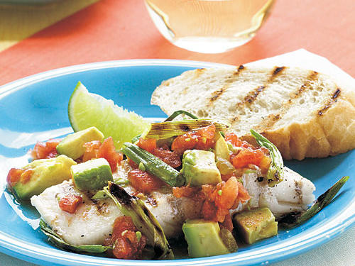 Grilled Halibut with Onion, Spicy Tomatoes, and Avocado