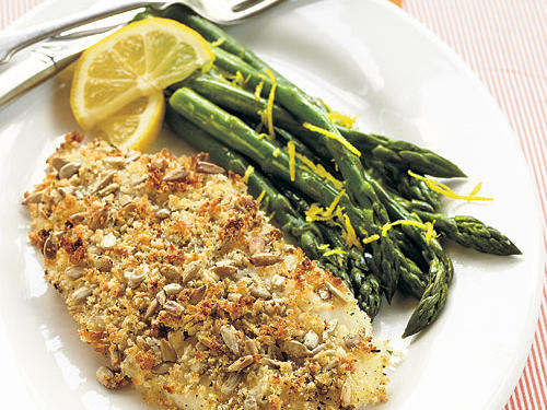 Panko and sunflower seeds form a crispy-chewy crust that bakes quickly into faux-fried goodness. Serve with steamed asparagus tossed with grated lemon rind.