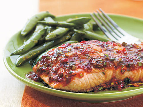 This sweet-and-spicy glaze permeates the fish as it broils, creating an intensely satisfying entrée with only 298 calories per serving.