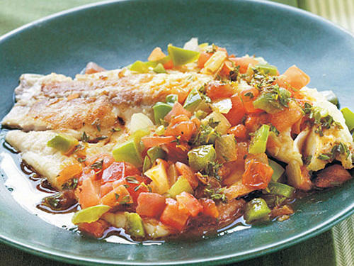 Spicy Louisiana Tilapia Fillets with Sauteed Vegetable Relish