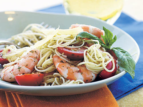 Jarred pesto is the shortcut to this summery dish. For best results, buy the refrigerated variety. Garnish with basil for extra freshness.