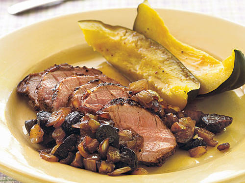 Caramelized onion and figs bring out the natural sweetness in pork here. Try the relish with chicken or beef as well.