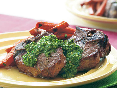 This bright and peppery pesto is a welcome twist on the traditional that matches the quick-and-easy lamb chops well. Pair with a roasted root vegetable, like potato, sweet potato, or the carrots shown.