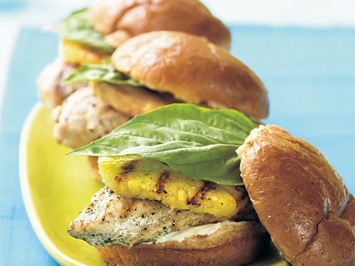 You're already grilling the chicken, so why not throw the pineapple slices on there too? The caramelized pineapple has a mellowed flavor and softness that's perfect in this sandwich. A squeeze of lime is all you need to flavor everything.