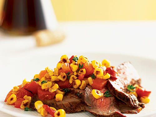 Adobo Flank Steak with Summer Corn-and-Tomato Relish