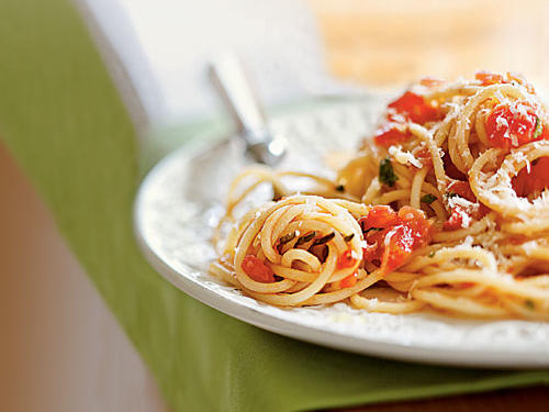 This Italian staple uses flavorful plum tomatoes, which are easy to find year round. We tossed the sauce with spaghetti but you can easily substitute with your favorite noodle. Finish the dish with a little Parmigiano-Reggiano for an easy crowd pleaser.