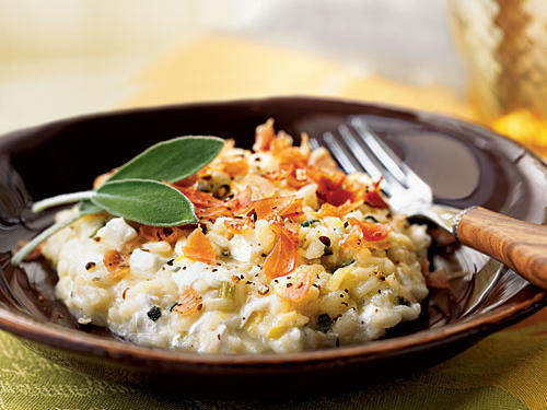 Sage Risotto with Fresh Mozzarella and Prosciutto Recipe