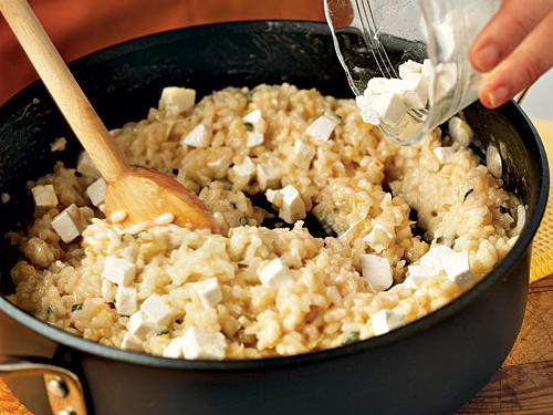 Add the remaining ingredients, such as meat, fish, vegetables, or cheese during the last few minutes of cooking time to keep them intact.Try it! Practice this technique with the following 6 recipes: Sage Risotto with Fresh Mozzarella and ProsciuttoRisotto with Fresh Mozzarella, Grape Tomatoes, and BasilRisotto with Italian Sausage, Caramelized Onions, and Bitter GreensBaked Risotto with Asparagus Spinach and ParmesanMonterey Jack, Corn and Roasted Pepper RisottoBarley Risotto with Caramelized Leeks and Mushrooms