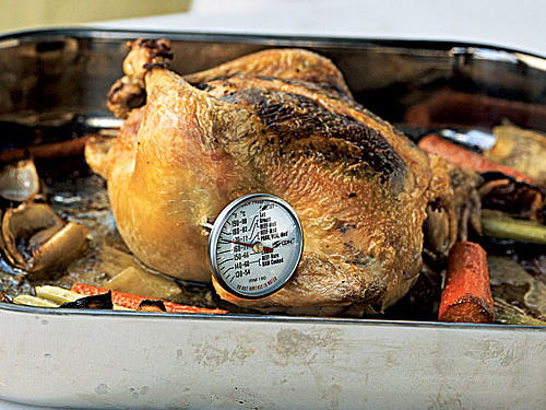 Result: Your roast chicken, leg of lamb, or beef tenderloin turns out over- or undercooked.Small and inexpensive, the meat thermometer is one of the most valuable kitchen tools you can own. Using one is the surefire way to achieve a perfect roast chicken or beautiful medium-rare lamb roast, because temperatures don't lie and appearances can deceive.We love digital probe thermometers, which allow you to set the device to the desired temperature. A heat-proof wire leads to an external digital unit that sits outside the oven and beeps when the meat is ready. This eliminates the frequent opening and closing of the oven door to check the temp―during which you lose valuable heat―and that speeds the cooking.
