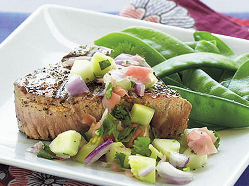 Grilled Tuna Steaks with Cucumber-Pickled Ginger Relish