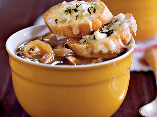 Healthy Carmelized Onion and Shiitake Soup with Gruyère–Blue Cheese Toasts Recipe