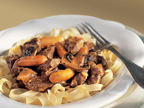 Low in calories and high in flavor, this recipe for beef burgundy uses a slow cooker to enhance the richness of the dish.