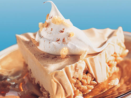 You'll love the cool creaminess of this frozen pie with the contrasting crunch of the oven-toasted rice cereal. It's a true treat any time of the year.