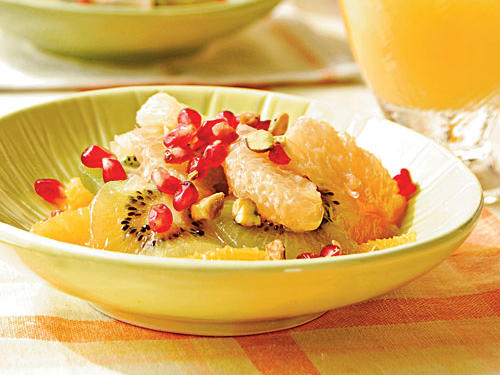 Citrus and Kiwifruit Salad with Pomegranate Seeds and Pistachios