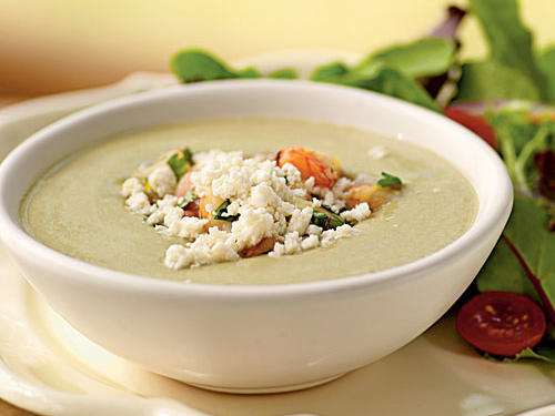This lovely no-cook soup is thick and creamy, and a meal in itself with its topping of lemony shrimp. It weighs in at less than 300 calories a bowl, so pair it with a side salad for a well-rounded meal.