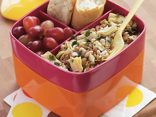 This vegetarian salad is a lunchbox dream: You can make it ahead, it's packed with filling protein and fiber, and it's loaded with flavorful ingredients. And as an added bonus, it tastes nice chilled or at room temperature. Include a cluster of red grapes and crusty Italian bread in your bag, and you're ready to go.